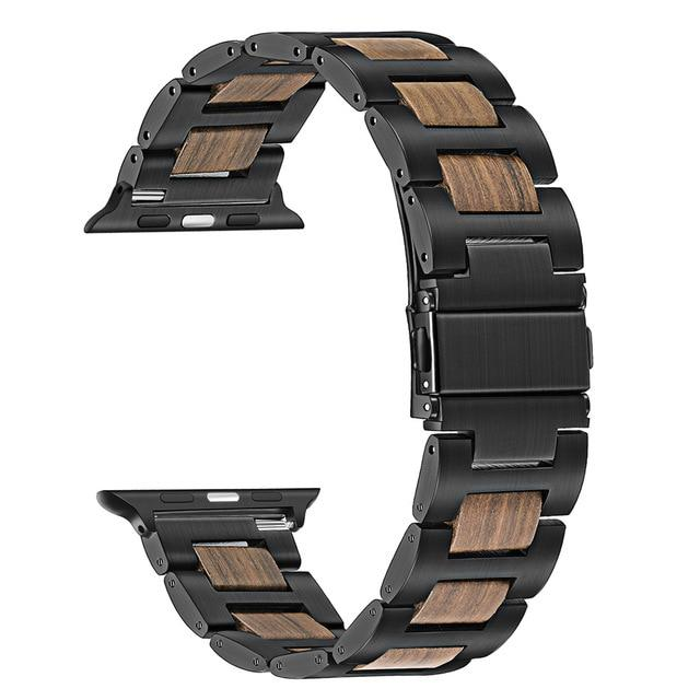 Apple Watch Combo Natural Wood + Stainless Steel Watchband Watchband Stand Black Walnut 38mm