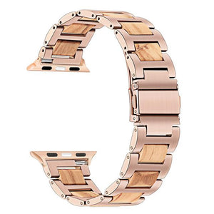 Apple Watch Combo Natural Wood + Stainless Steel Watchband Watchband Stand Rose Gold Olive 38mm