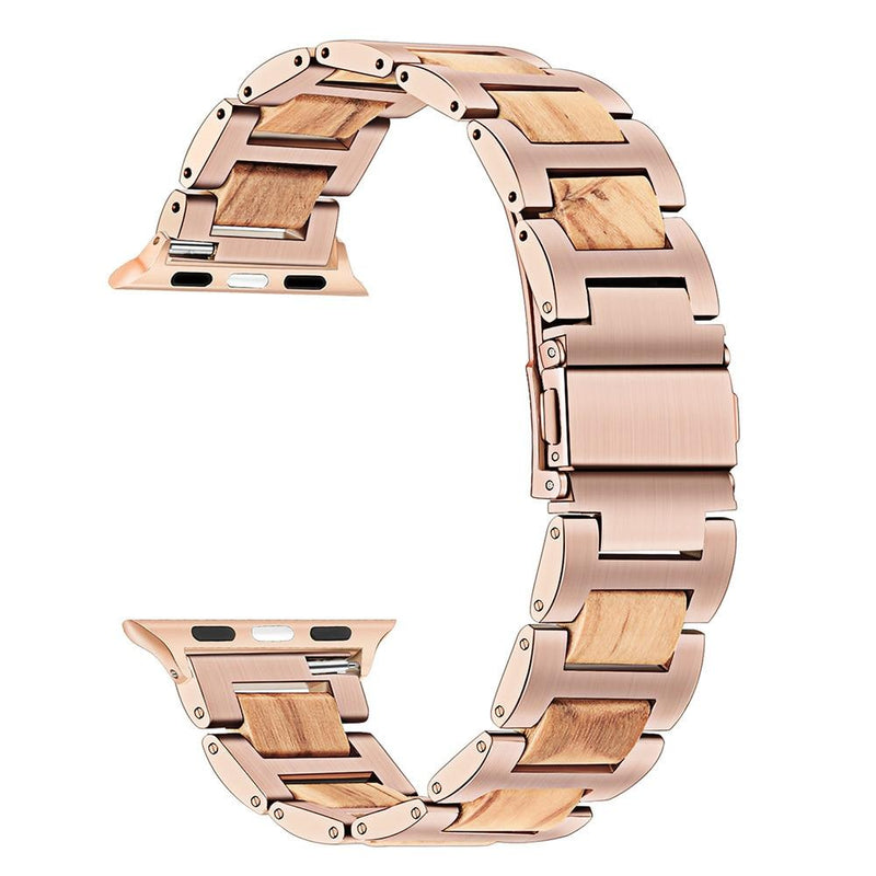 Apple Watch Combo Natural Wood + Stainless Steel Watchband Watchband Stand