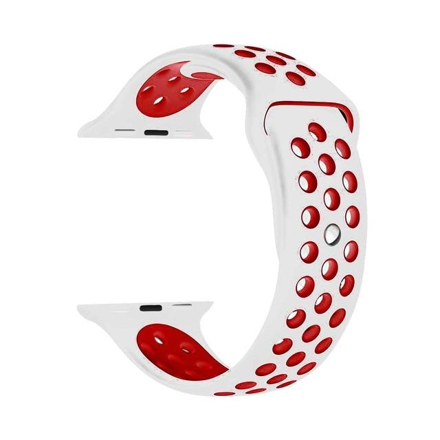 Sports Strap for the Nike apple watch series Watchband Stand 27 White red for 38 40mm Watch ML