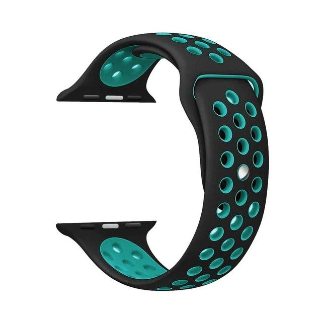 Sports Strap for the Nike apple watch series Watchband Stand 29Black Peacock blue for 38 40mm Watch ML
