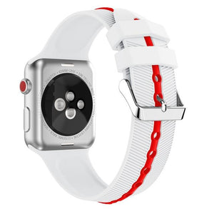 Apple Watch Silicone Gripper Band Watchband Stand white red 42mm or 44mm