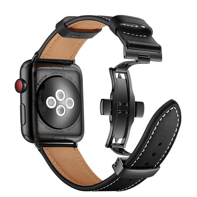 Apple Watch Leather Butterfly WatchBand Stand United States 2 Black/ Black Metal 42mm 44mm