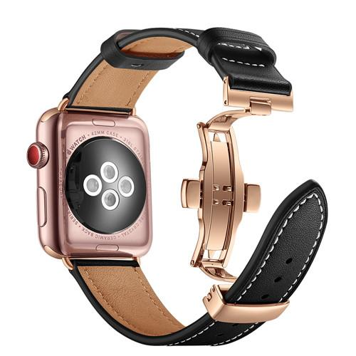 Apple Watch Leather Butterfly WatchBand Stand United States 2 Black/ Rose Metal 42mm 44mm