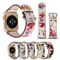 Apple Watch Konaforen Floral Printed Leather Loop Watchband Stand