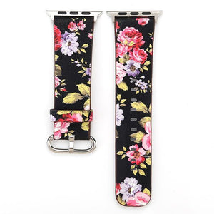 Apple Watch Konaforen Floral Printed Leather Loop Watchband Stand 1 38MM