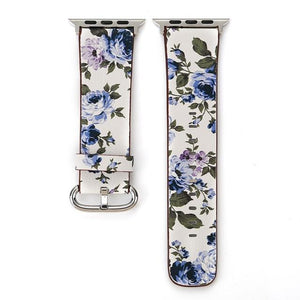 Apple Watch Konaforen Floral Printed Leather Loop Watchband Stand 3 38MM