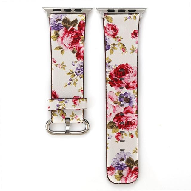 Apple Watch Konaforen Floral Printed Leather Loop Watchband Stand 4 38MM