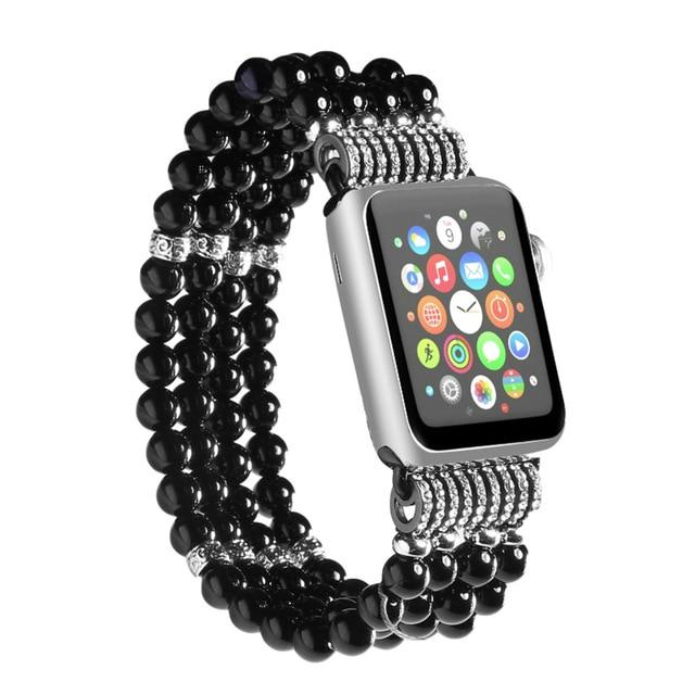 Apple Watch Bling Beads Hot Strap Jewelry Watchband Stand Black 42mm