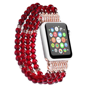 Apple Watch Bling Beads Hot Strap Jewelry Watchband Stand red 42mm