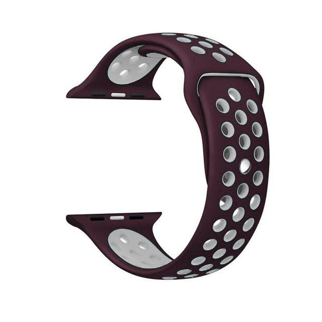 Sports Strap for the Nike apple watch series Watchband Stand 34 Wine red white for 38 40mm Watch ML