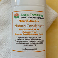 Lisa's Treasures Natural Deodorant ingredients