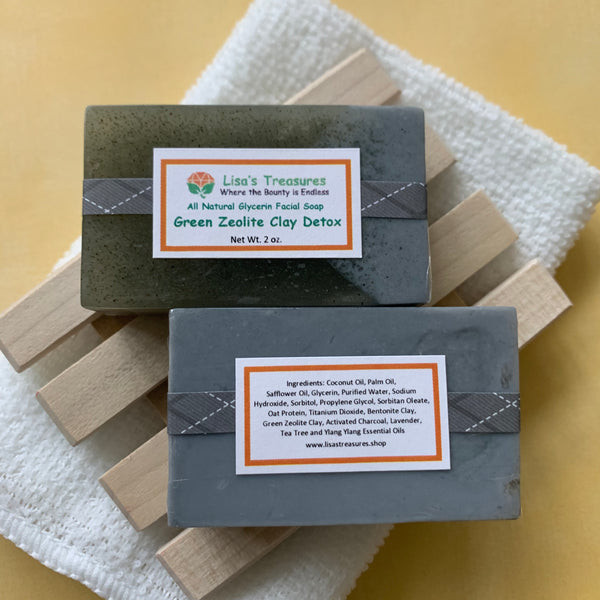 Lisa's Treasures Green Zeolite Clay Facial Detox  Soap