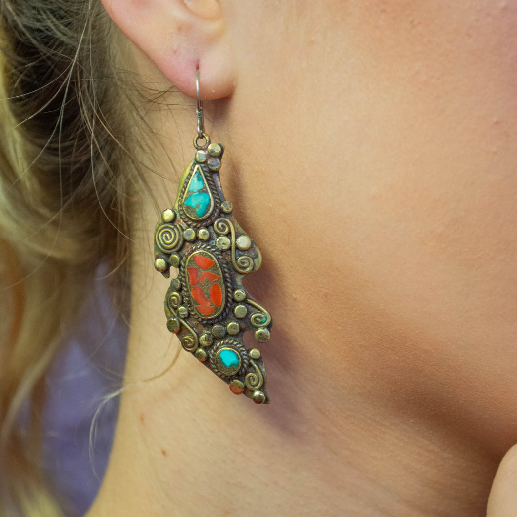 Fierce Tibetan Tribal Earrings