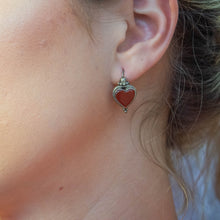 Sterling Silver Carnelian Heart Earrings