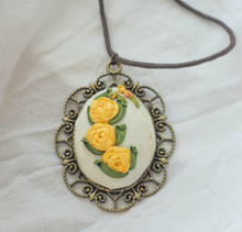 Embroidered Flower Pendant