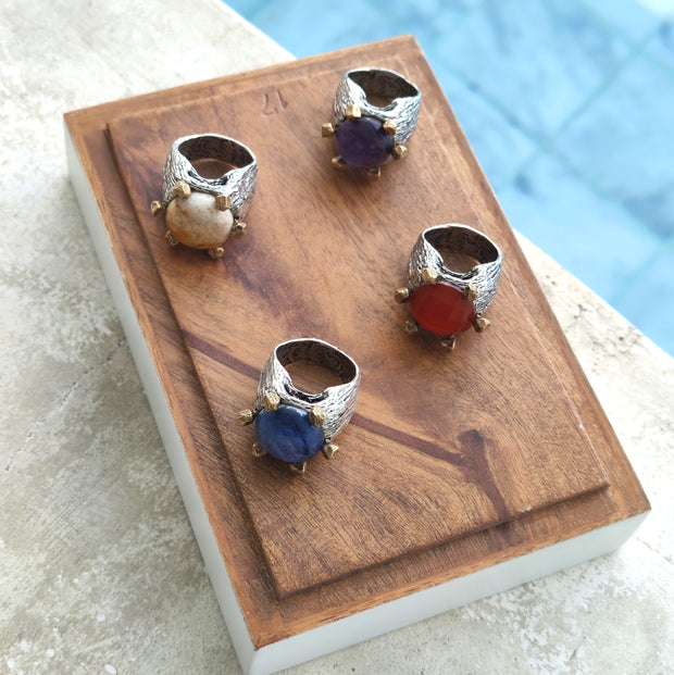 Set of Sterling Silver and Bronze Rings with Precious Stones