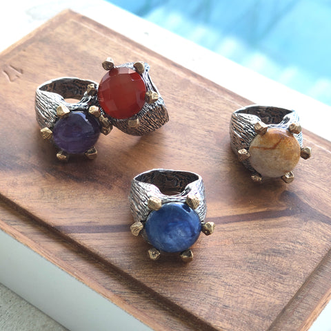 Details of Rings with Precious Stones