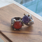 Amethyst and Carnelian Ring with Sterling Silver and Bronze