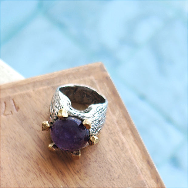 Amethyst Ring with Sterling Silver and Bronze