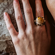 Fossil Coral Gemstone Ring on Model's Hand