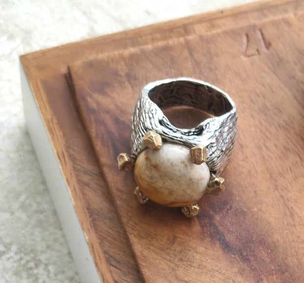 Fossil Coral Gemstone Ring Made in Italy
