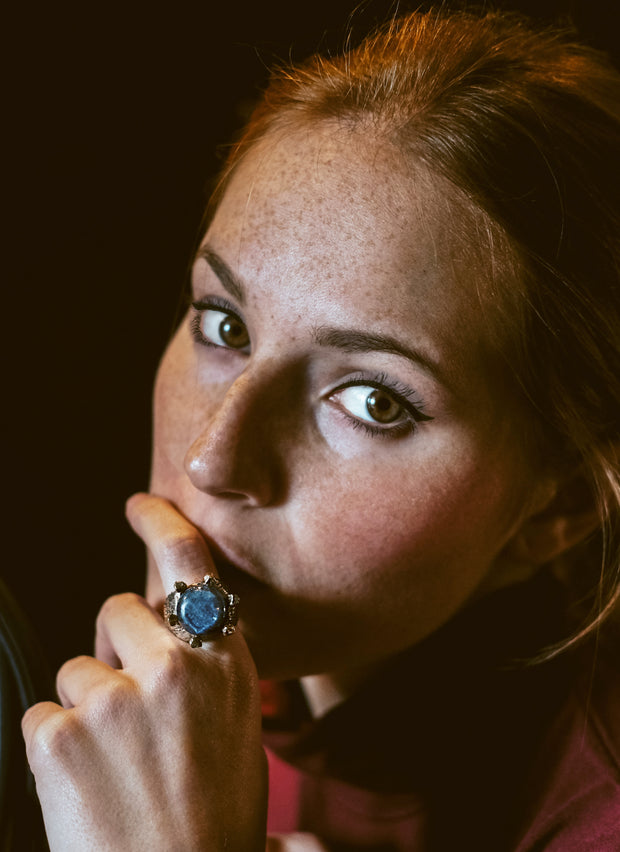 Model wearing blue Lapis Lazuli Gemstone Ring