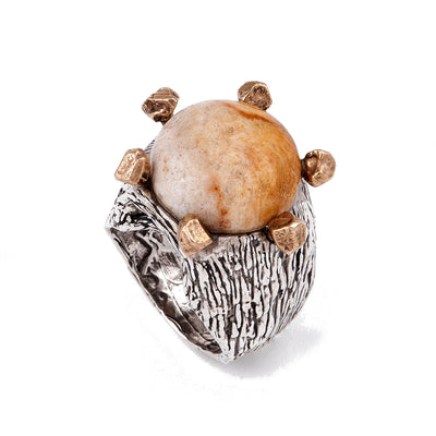 Fossil Coral on Sterling Silver and Bronze Ring