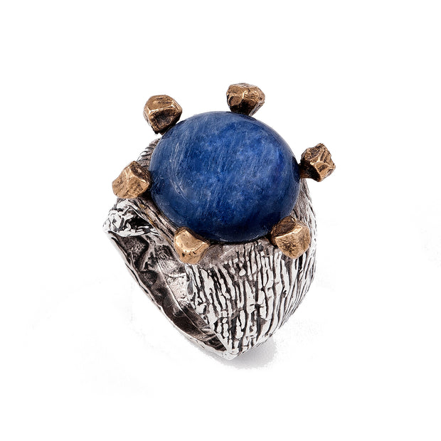 Lapis Lazuli Ring Sterling Silver and Bronze