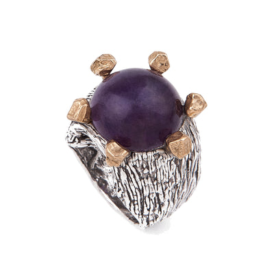 Amethyst Ring Sterling Silver and Bronze