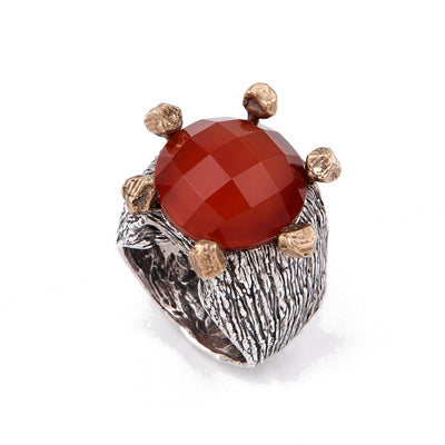 Carnelian Ring with Sterling Silver and Bronze