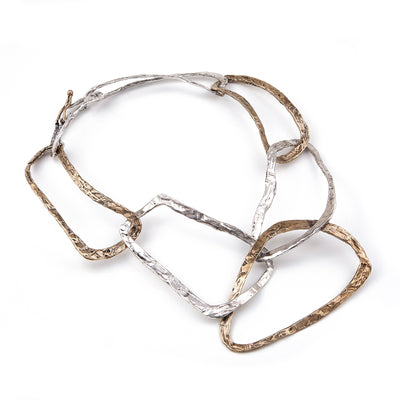 Alternating Bronze and Silver interlocking links necklace