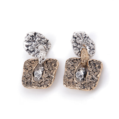 Silver Bronze engraved surface earrings handmade in Italy