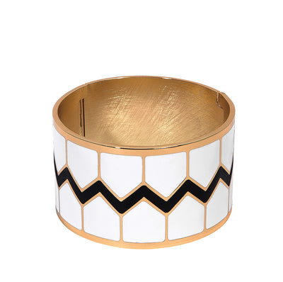 Chevron Wide Hinged Bangle