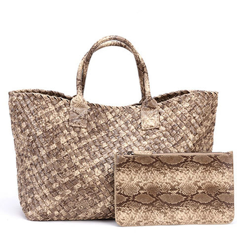 snakeskin faux leather bag