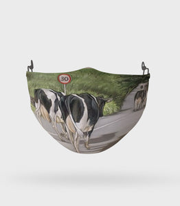 Friesian Cows Walking Road Face Mask