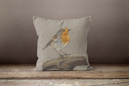 Robin On Spade Garden Bird Square Cushion