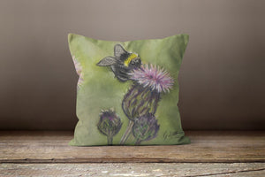 Bee On Thistle Square Cushion