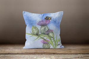 Bee On Thistle -2 Square Cushion