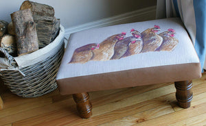 Hens Farming Themed Footstool