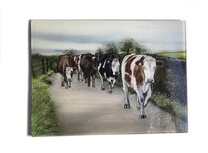 Herd Of Cows walking Road Glass Worktop Saver
