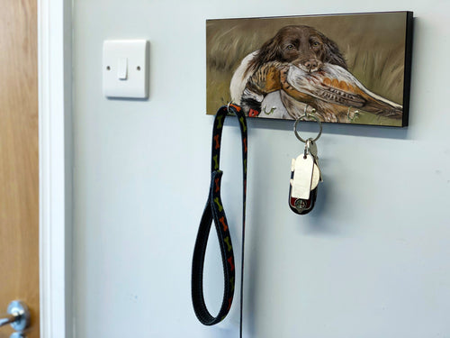 Spaniel With Pheasant Key Holder