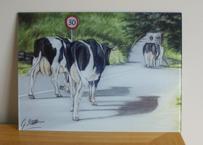 Friesian Cows Walking Road Worktop Saver