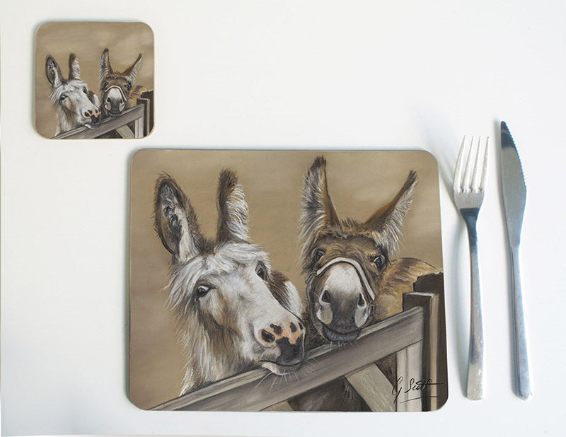 Duo of Donkeys over Gate Placemat