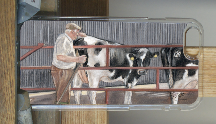 Farmer with friesian cow phone case by grace scott