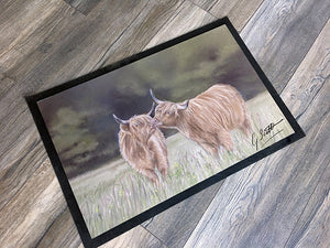 Highland Cows Kissing Floor Mat