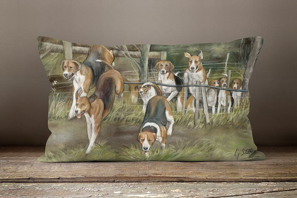 Hounds Hunting Oblong Cushion