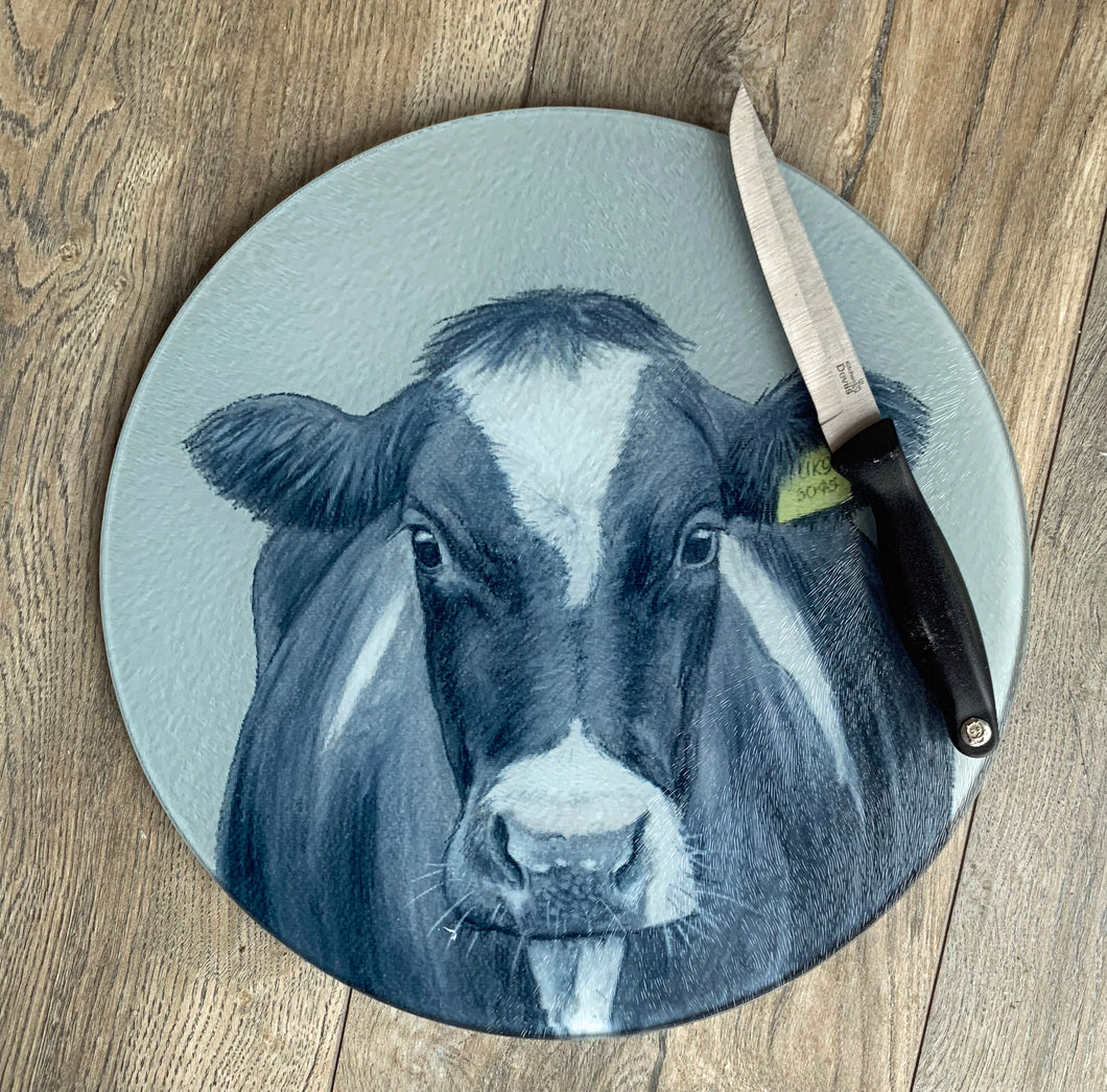 Friesian Cow With Tag Round Worktop Saver