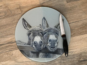 Donkeys Over Gate Round Worktop Saver