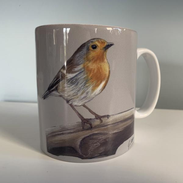 Robin On Spade Garden Birds Themed Mug
